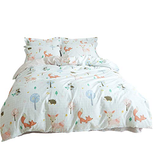 BuLuTu 100% Cotton Animal Bedding Duvet Cover Sets Twin White 3 Pieces Woodland Kids Bedding Sets for Boys Girls Zipper Closure with 4 Strings,1 Duvet Cover and 2 Pillowcases,68