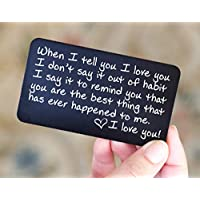 Engraved Wallet Card Insert Anniversary Gifts for Men | Unique Boyfriend Gift Idea for Him | Romantic Mini Love Note for Husband, Wife, Birthday, Friends, Fathers, Girlfriend or Deployment
