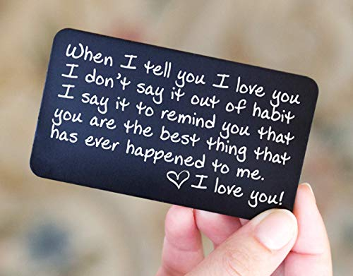 Engraved Wallet Card Insert Anniversary Gifts for Men | Unique Boyfriend Gift Idea for Him | Romantic Mini Love Note for Husband, Wife, Birthday, Friends, Fathers, Girlfriend or Deployment (One Year Anniversary Gift Ideas For Her)