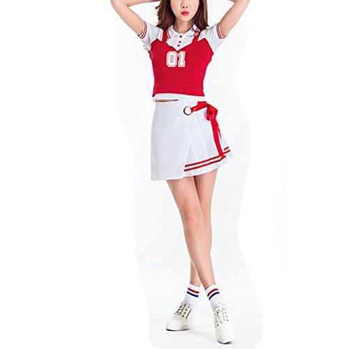 Yiwa Fille Costume De Pom-pom Girl De Fantaisie Robe De Coupe Du Monde De Football Bébé Performances Sexy Style Uniforme 4