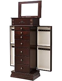 Large Jewelry Armoire Cabinet Standing Storage Chest Neckalce Organizer Dark Walnut UJJC14K