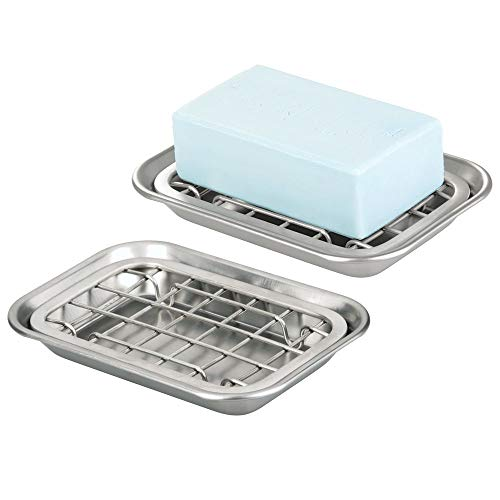 mDesign Metal 2-Piece Soap Dish Tray with Drainage Grid and Holder for Kitchen Sink Countertops to Store Soap, Sponges, Scrubbers - Rust Resistant - 2 Pack- Brushed