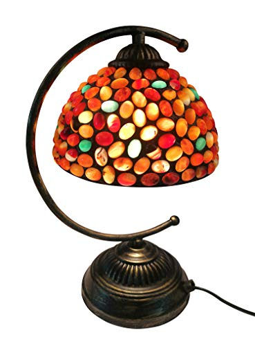 NOSHY SH-042 Upgrade Tiffany Style Jade Stone Table Lamp, Red and Green Color, 7-1/2