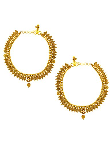 Anuradha Art Gold Finish Studded Peach Colour Stone Traditional Payal/Anklets For Women/Girls by Anuradha Art