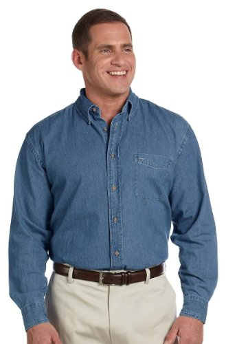 HA MENS 6.5 OZ L/S DENIM SHIRT (LIGHT DENIM) - L/s Jeans