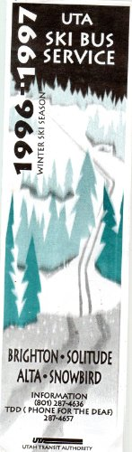 Souvenir: UTA SKI BUS SERVICE and Map, Winter Ski Season 1996-1997 (Brighton, Solitue, Alta, Snowbird