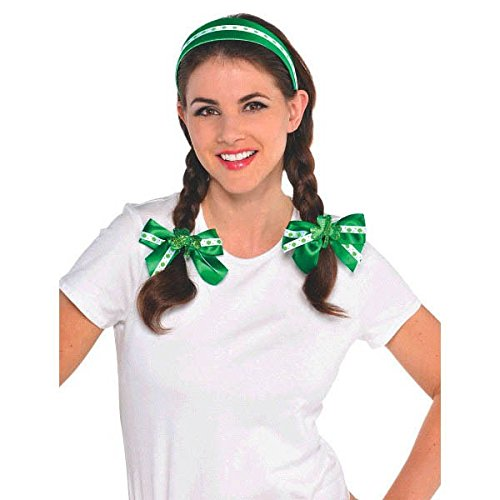 [St. Patrick's Day Fabric Hair Accessory Set Costume Party Favour (1 Set), Green/White, 4 1/2