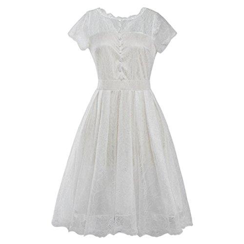 Vestido La Mujer Del Verano Del Color Sólido Del Cordón De La Cintura La Mitad De Manga Oscilación Grande Vestido De Ocio White