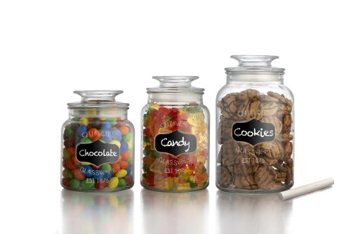 American Atelier Canister Set 3-Piece Glass Jars in 33oz, 44oz & 60oz Chic Retro w/Airtight Lids, Chalkboard, for Cookies, Candy, Coffee, Flour, Sugar, Rice, Pasta, Cereal & More