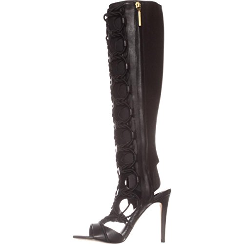 BCBGeneration Womens Jocelyn Leather Open Toe Casual, Black/Black, Size 6.5