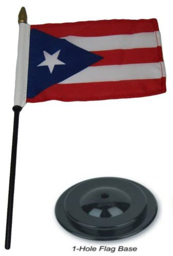 Moon Knives Puerto Rico Country 4''x6'' Flag Desk Set Wood T