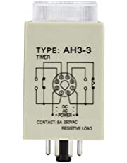 AH3-3 Timer Relay Delay Time Relay High Accuracy 35mm Rail Guide Timing Relay Electronic Type Electronic Components for Programmable Control(110V, British Flag Type)