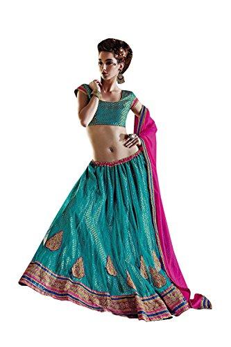 Da Facioun Womens Blue Color Striking Lehenga Choli With Crystals Stones Work 79943