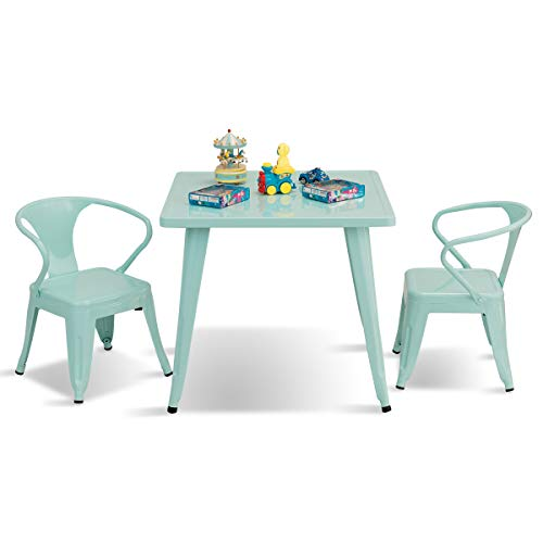 - Costzon Kids Table and 2 Chair Set for Indoor/Outdoor Use, Steel Table and Stackable Chairs, Preschool, Bedroom, Playroom, Home, Furniture for Toddlers Boys & Girls(Mint Green, Table & Chairs)