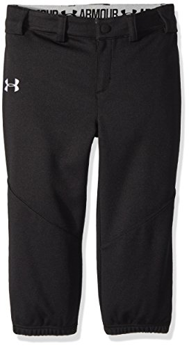 Under Armour Girls' Little Softball Pant, Black, 6