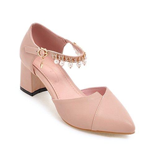 QIN&X Señaló la Mujer Tacones Bloque Toe Sandalias Al Tobillo. Pink
