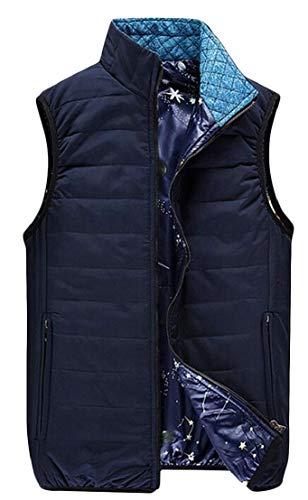 TTYLLMAO Vest Navy Stand Puffer Men's Collar Outwear Down Blue Sleeveless Quilted Classic rqrxB84
