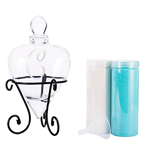 (AF ANDREW FAMILY Monogrammed Etched Wedding Glass Heart Shaped Unity Set with Metal Stand-Inital C White& Blue Sand)