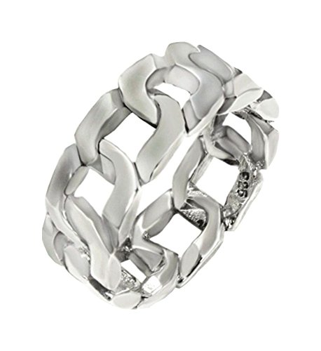 Curb Link Style Band 8 mm wide Oxidized Solid .925 Silver ring designer (Band Link Curb Designer)