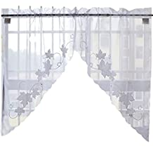 Sweet Leaf Embroidered Curtain Kitchen Curtain Coffee Screen-A Pair