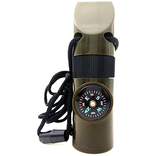 Compass Flashlight Whistle - Sport Art 7 in 1 emergency survival whistle Magnifying Lens, Bright LED flashlight, Signal Mirror, Compass, Thermometer,Storage and Lanyard, Tool for Camping, Hiking,outdoor safety whistle.edc Tools