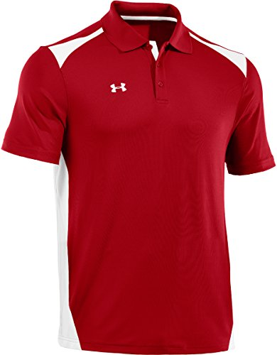 Under Armour Men's Team Colorblock Polo, Red/White, XL
