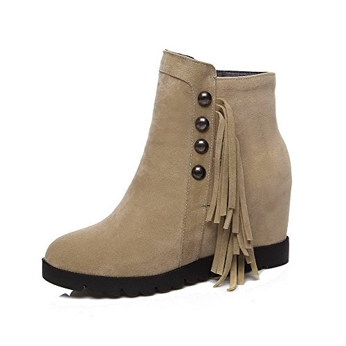 Round Imitated High Ankle Zipper Allhqfashion high Heels Closed Boots Suede Women's Beige Toe 1wgpqgSx