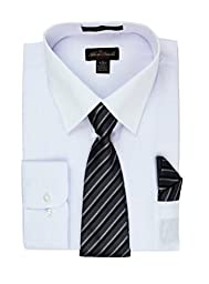 Alberto Danelli Men\'s Long Sleeve Dress Shirt with Matching Tie and Handkerchief, Large / 16-16.5 Neck -34/35 Sleeve, White/Black