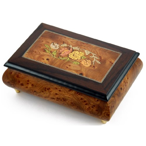 Traditional Style 22 Note Floral Theme Wood Inlay Music Jewelry Box - Many Song Choices - Wedding March - 1 Available by MusicBoxAttic