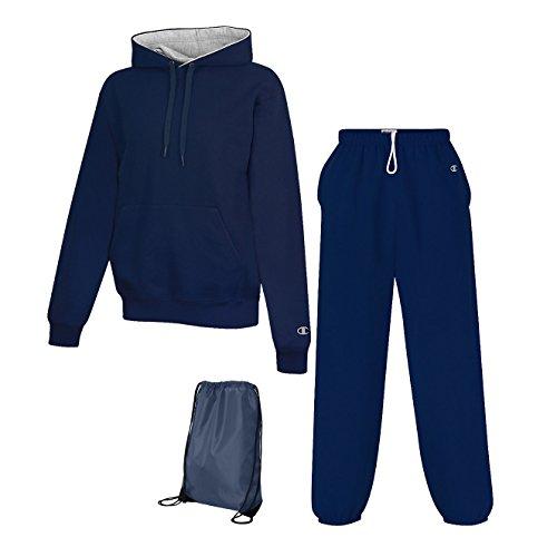 Champion Men's Cotton Max Fleece Sweatsuit, Top: XL / Bottom: L, Team Navy (Men Champion Sweatsuits compare prices)