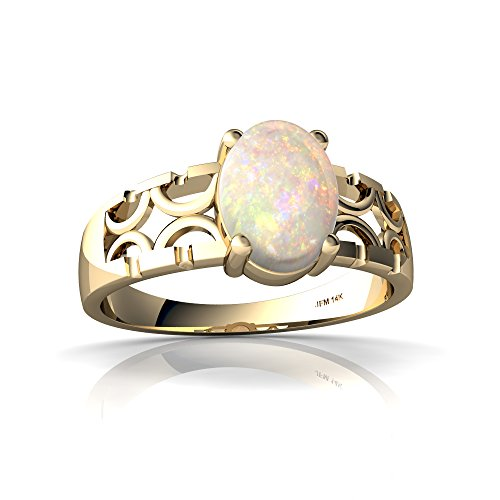 14kt Yellow Gold Opal 8x6mm Oval Art Deco Ring - Size 8 by Jewels For Me