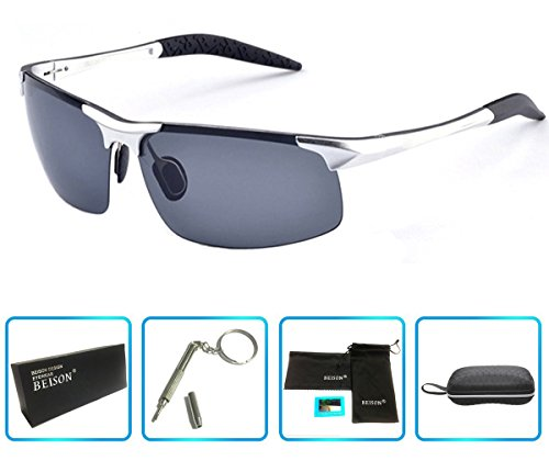 Beison Sports Goggles Driving Glasses Polarized Sunglasses Unbreakable Metal Frame (Silver, Grey - Sunglasses Driving Polarised