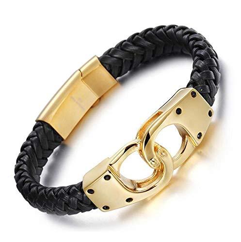 Men's Italian Gold Silver Plated Handcuff & Bracelets | Fashionable Male Stainless Steel Braded Genuine Leather Bracelets
