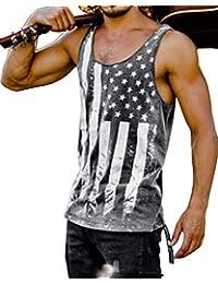 644ae554b033a Mens Striped American Flag Printed Tank Top Casual Summer Sleeveless Loose  Tees Shirts