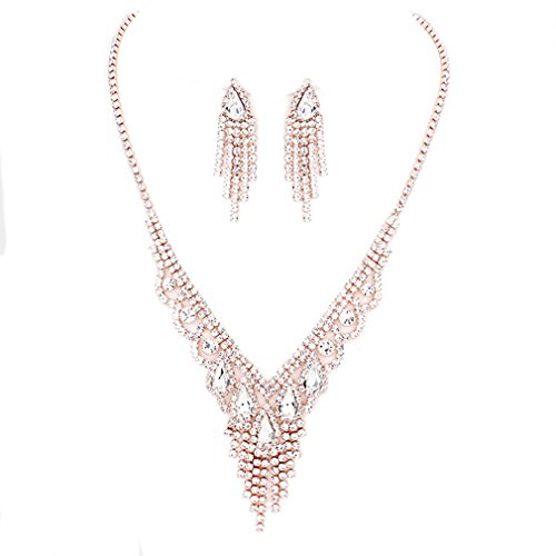 (Elegant Clear Crystal Rhinestone Rose Gold Women Necklace Jewelry Earrings Set Prom Bride Pageant)