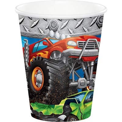 Club Pack Monster Truck Rally Birthday Printed 9oz Paper Cups, Box of 96