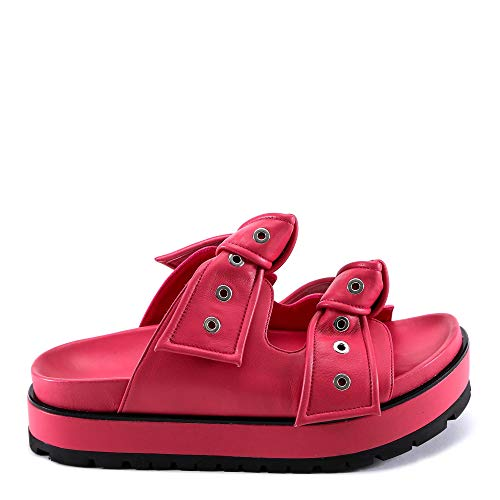 Alexander McQueen Women's 509020Whs406568 Fuchsia Leather Sandals