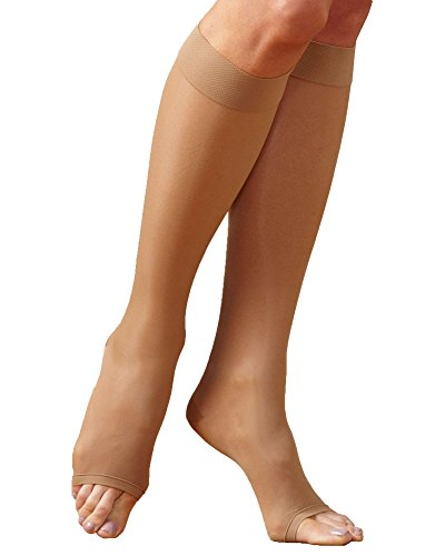 Knee High Natural (Just Comfort Sheer Open Toe Knee High, Natural, Small - Mild)