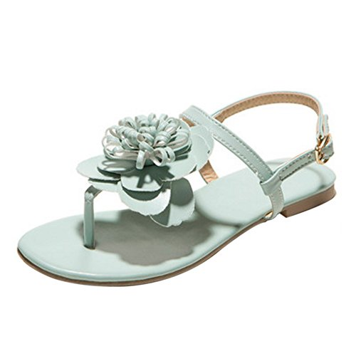 COOLCEPT Women Fashion Ankle Strap Sandals Slingback Flat Shoes With Flower Green