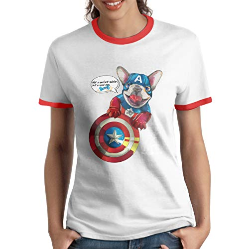 HAIGUANGZ Design Not A Perfect Soldier But A Super Hero Bulldog Ringer T Shirt O-Neck for Womens Red M