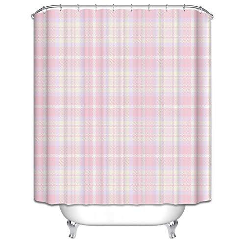 KnBoB Toile Shower Curtain Lattice Pattern Shower Curtain Pink Shower Curtain with Hooks 120X180CM