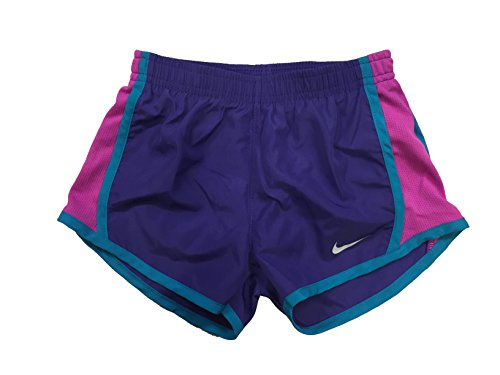 NIKE Girl`s Dry Tempo Shorts (Fusion Violet (267358-P3P)/White/Pink, 2T Toddler)