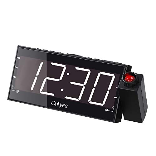 "OnLyee Projection Clock with FM Radio, 7"" LED Display, Wall Ceiling Clock, Nap/Sleep Timer, 3 Dimmer, Dual Alarm and Dual USB Ports for Wall,Travel, Bedrooms, Ceiling, Kitchen, Desk, (Fm Lens Accessories)"