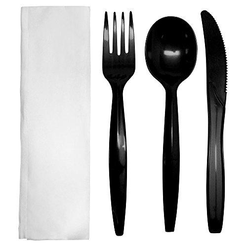 Karat PP Medium-Heavy Weight Cutlery Kits - Black - 250 ct, U2201B