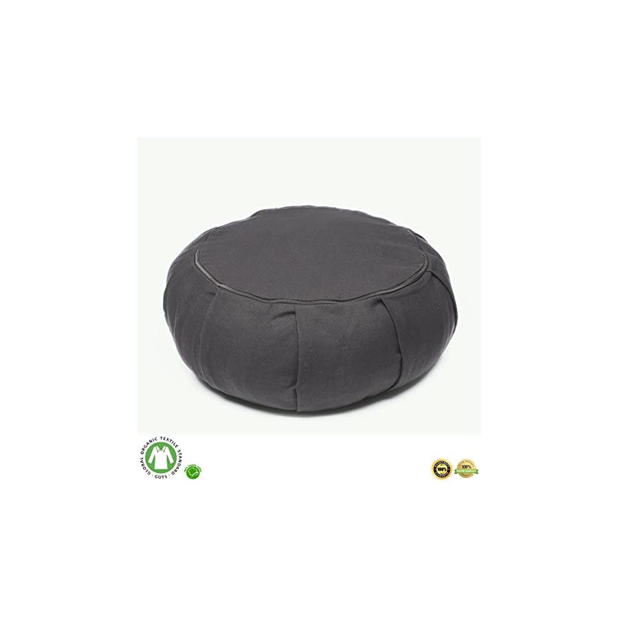 Buckwheat Meditation Cushion – Crescent, Round Or Zabuton Zafu Yoga Pillow | 7 Colors | Zippered Organic Cotton Cover & Liner to Add or Remove Hulls | Machine Washable | Carrying Handle