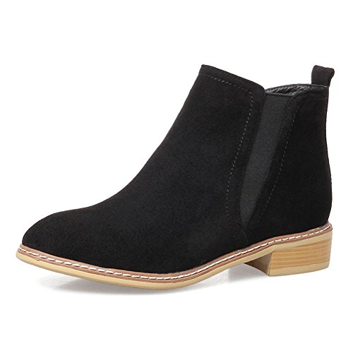 KingRover Women's Booties Comfortable Chunky Heel Round Toe Suede Ankle Boots Black
