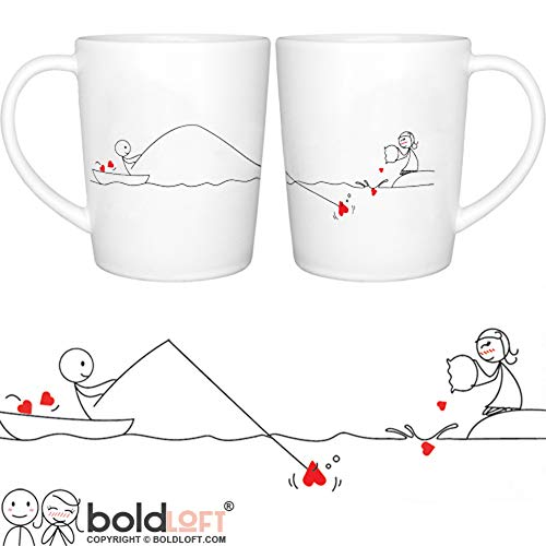 "BOLDLOFT""Catch My Heart"" His and Hers Coffee Mugs-Long Distance Relationships Gifts for Him for Her,Long Distance Coffee Mugs,Long Distance Couples Gifts,Girlfriend Boyfriend Gifts"