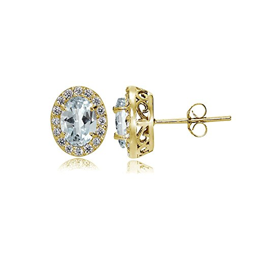 Yellow Gold Flashed Sterling Silver Aquamarine and Cubic Zirconia Accents Oval Halo Stud Earrings