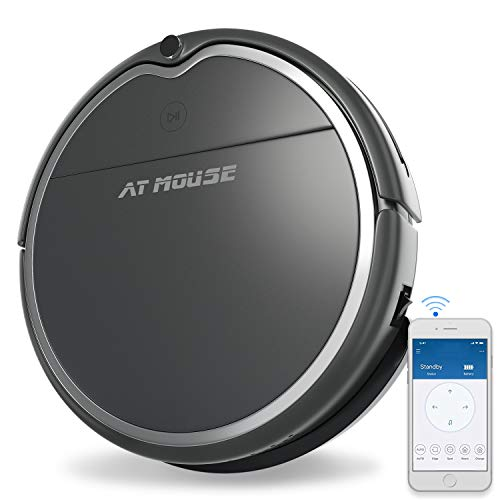 AT MOUSE Robot Vacuum Cleaner with Max Power Suction, Alexa Connectivity, App Controls, Self-Charging for Hard Surface Floors & Thin Carpets