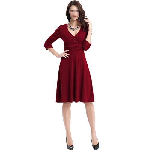 Vestido Con Cuello En V Sra Verano Puso En Un Multi-color Multi-gran Tamaño H